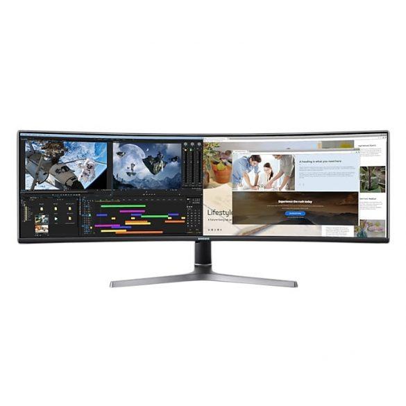 "Samsung LC49RG90SSRXEN 49"" Ívelt QLED gaming monitor Duál QHD felbontással"