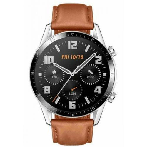 Huawei Watch GT 2 Classic 46mm Ezüst tok - Barna bőrszíj